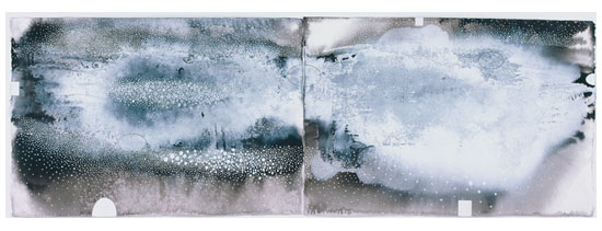 Image: Ian Friend The snowdrift line #2 2002  indian ink, gouache and crayon, 52 X 152cm, Private collection, Brisbane