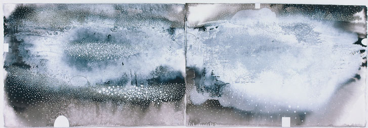Ian Friend The snowdrift line #2 2002 indian ink, gouache and crayon on two sheets of paper 52 X 152cm Private collection, Brisbane